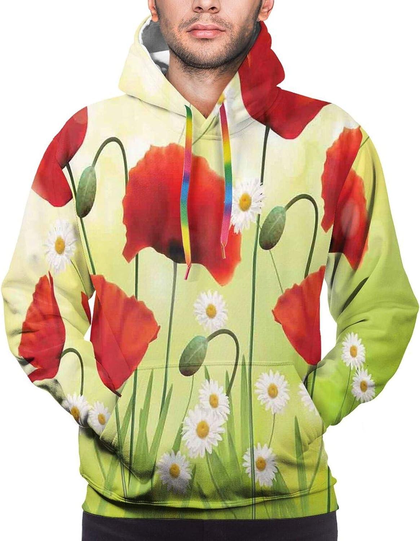 Men's Hoodies Sweatshirts,Spring Dandelions Botany Blossoming Petals Essence of Nature Growth Theme