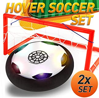 Kids Toys Hover Soccer Ball, Sport Hover Ball Set 2 Goals, Colorful LED Light Air Power Soccer Ball Outdoor Indoor Training Football Disk Family Game Soccer Toy for Age 3-14 Boys Girls Birthday Gifts