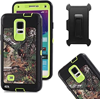 Galaxy Note 4 Case, Harsel  Heavy Duty Realtree Camo Tough Rugged Impact Armor Hybrid Military with Belt Clip Built-in Screen Protector Case Cover for Galaxy Note 4 - Forest Green