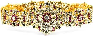 UG PRODUCTS Copper Bharatnatyam Kuchipudi Dance Stone Ornament Set with Waist Belt (Gold)