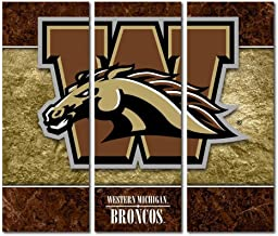 Victory Tailgate Western Michigan University Broncos Triptych Canvas Wall Art Double Border (48x54 inches)