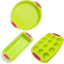 Silicone Cake Pan Mold Bakeware Molds With Handle Value 3 Pack Set, Premium Non Stick Reusable Baking Pans for Kitchen Hom...