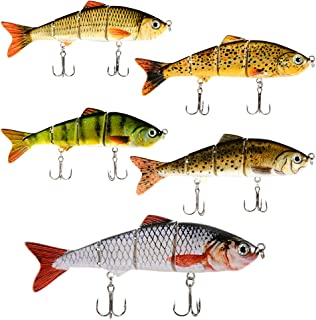 Isafish Swimbaits for Bass Crankbait Bionic Multi Jointed 4 Segment Pike Fishing Lures Minnow Hard Bait 4.72 Inch 0.6 Ounce