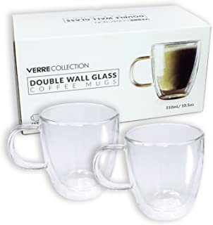 Double Wall Glass Espresso Latte Cappuccino Mug, Coffee Cup | Set of 2 (2, 10.5 oz)