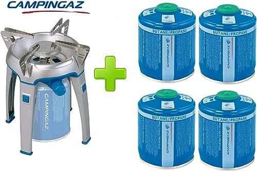 ALTIGASI Réchaud à gaz Bivouac Campingaz Puissance 2600 W avec Sac de Transport - Système de Cartouche Amovible + 4 Cartouches à gaz CV470 de 450 g