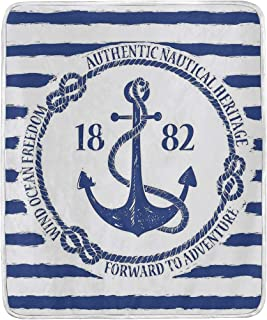 JOSENI Old Authentic Nautical Emblem with Anchor On Striped Background Freedom Heritage Super Soft Throw Blanket Bed Couch Lightweight All Season 60