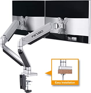 Dual Monitor Mount Stand - FEZIBO Height Adjustable Mount with Gas Spring for 2 Screens from 17 to 32 inches LCD Computer Screens, Each Arm Holds up to 17.6 lbs