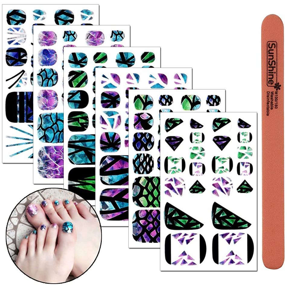 WOKOTO 6 Sheets Laser Full Nail Toenail Art Self-Adhesive Stickers With 1Pcs Nail File Nail Wraps Decals Mermaid Geometric Splicing Classic Pattern Holographic Manicure Sticker Kit