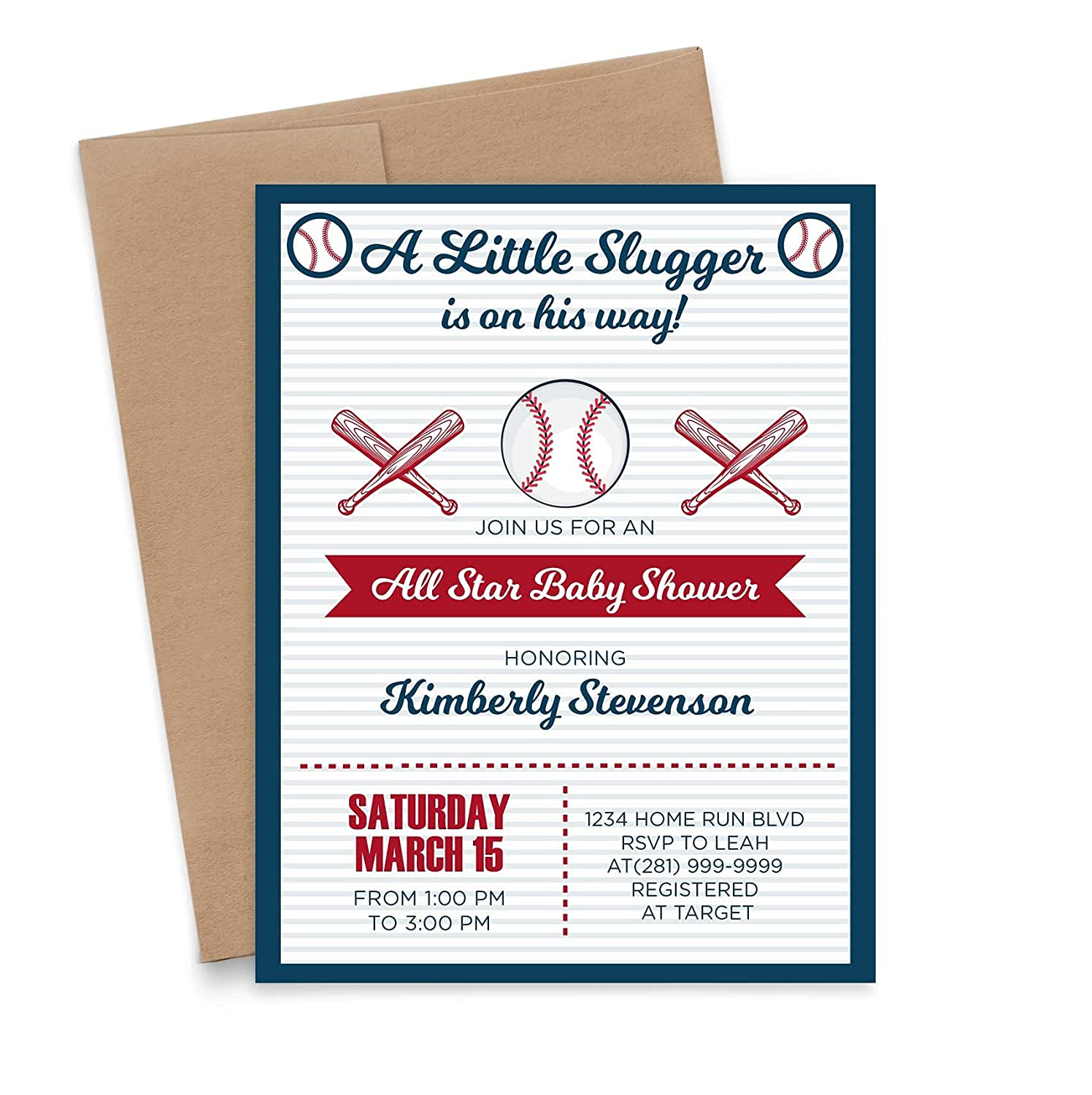 Baseball Baby Shower Tucson Mall Safety and trust Invitations Personalized Invit