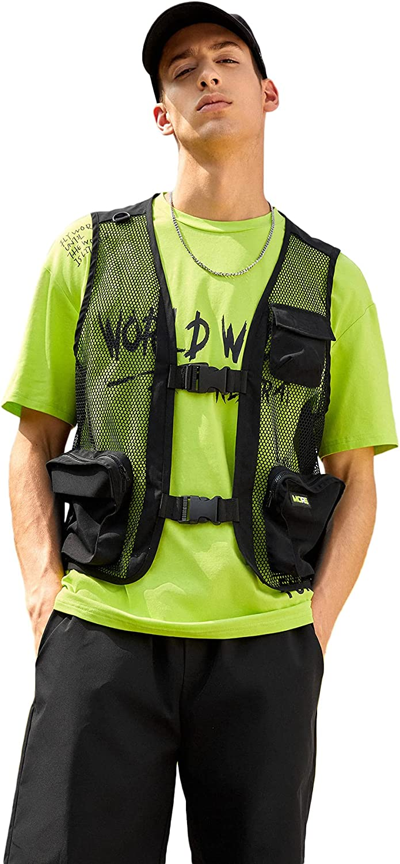 ROMWE Men's Fashion Outdoor Fishing Vest Pocket Buckle Cargo Vest Hiking Traveling Vest Jacket