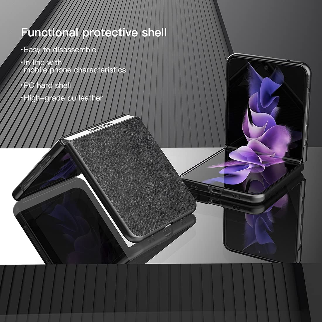DDJ for Samsung Galaxy Z Flip 3 5G Case,Ultra-Thin Leather Magnetic Flip Protective Case for Galaxy Z Flip 3 2021 (Black)