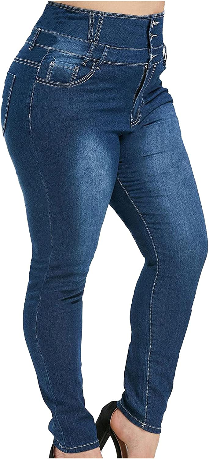 Mom Jeans High Waisted Skinny Butt Lifting Plus Size Jeans for Women Stretch Casual Trendy Denim Pants