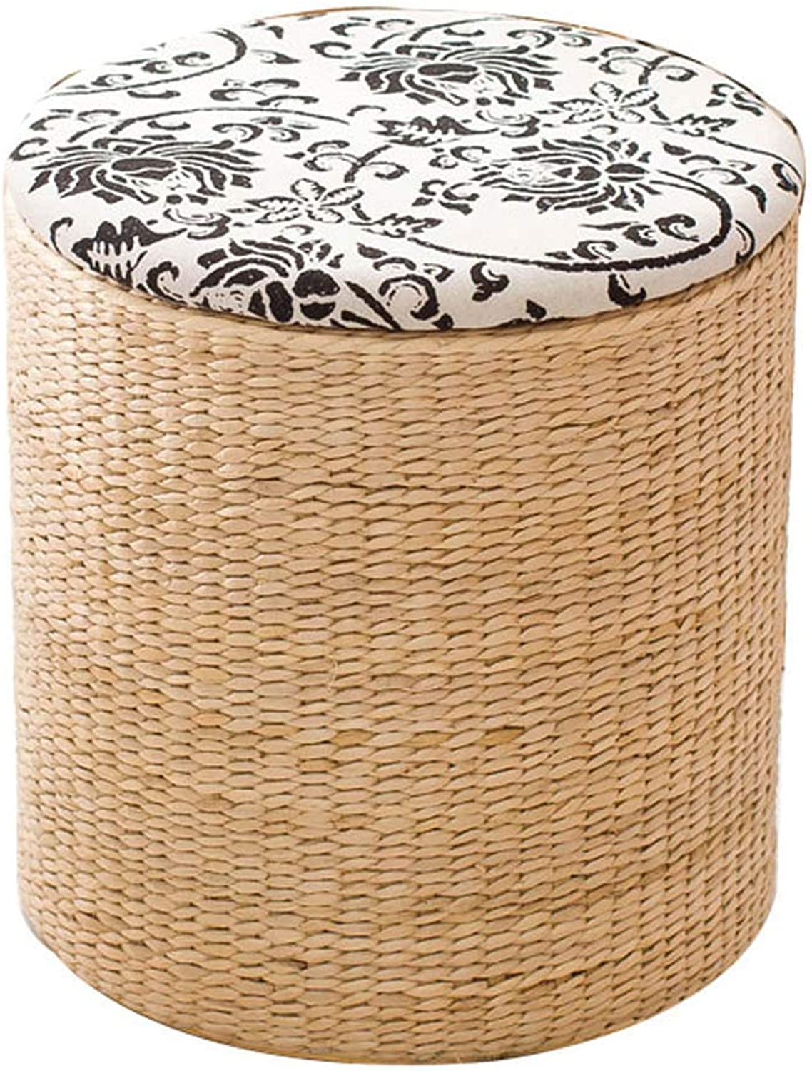 Household Footstool Round Storage Stool, Straw-Changing shoes Stool Solid Wood Dining Stool, Suitable for Living Room, Bedroom, Dining Room