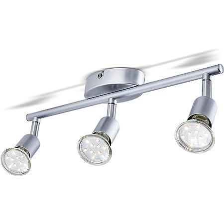 B.K.Licht plafonnier LED 3 spots orientables, spots plafond modernes, plafonnier salon bureau salle à manger cuisine couloir, lumière blanche chaude, 3 x 3W, GU10