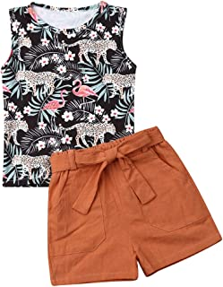 LXXIASHI Toddler Baby Girl Summer Clothes Vest Tops +Tassels Floral Shorts 2PCS Baby Girl Outfit Suit