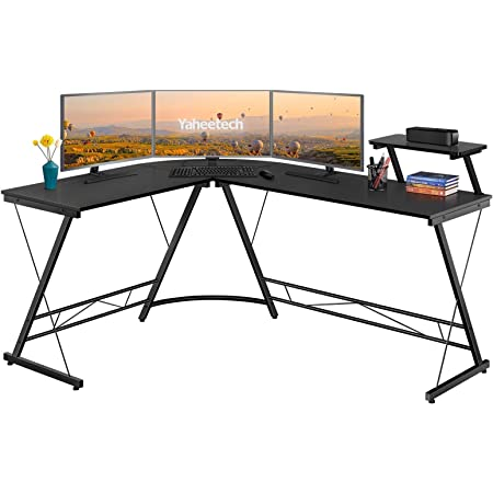 Yaheetech Bureau d'angle Table Informatique en Forme de L Table d'étude avec Support d'écran Pieds Réglables pour Bureau Chambre Studio Gain de Place Noir/XL 162,5x130x75/96,5 cm