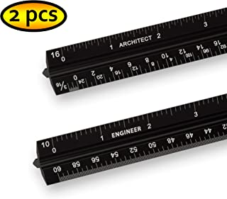 Aluminum Architectural Scale Ruler Set For Blueprints, Black Laser Etched Triangular Drafting Tool, Engineering And Architectural 12 Inch Imperial Metal Ruler