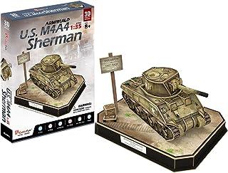 CubicFun JS4204h ArmiBuild Military Scenic Model Army Tank U.S. M4A4 Sherman 3D Puzzle, 263 Pieces