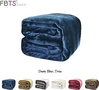 FBTS Basic Flannel Fleece Luxury Blanket Twin Size Blue Lightweight Cozy Plush Microfiber Solid Blanket