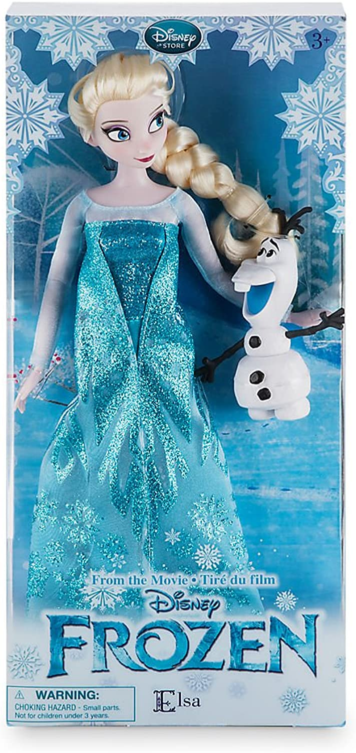 New In Box Disney Store Frozen 12'' Inches Elsa Classic Doll With Olaf 2016 In New Packaging by Disney