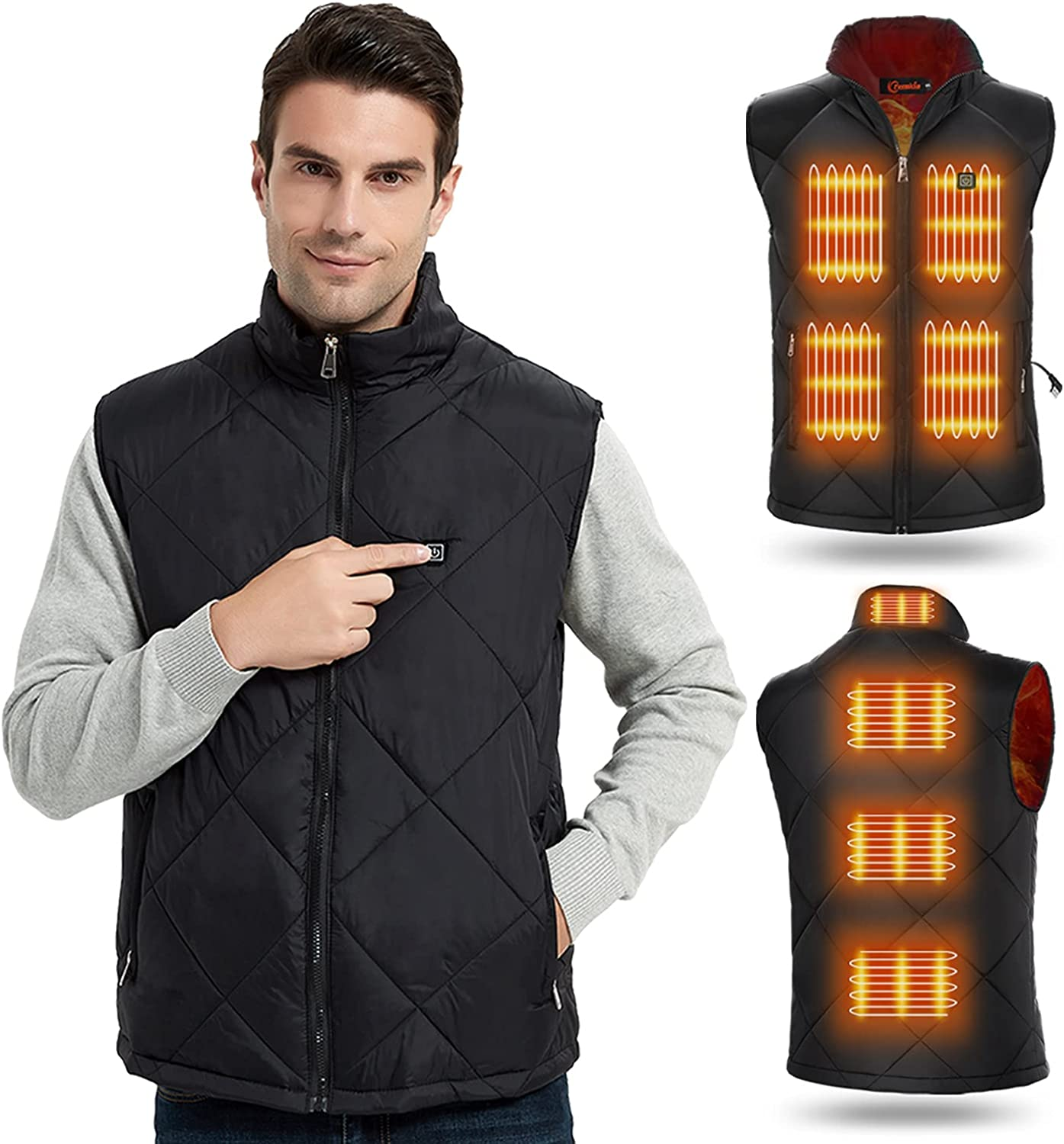 Heated Soldering Vest Translated for Men Women Winter Elect Warm USB Outdoor Charging