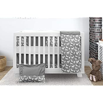 Premium Baby Crib Bedding Set | 7 Piece Nursery Bundle | Made in Canada | 100% Cotton Gray Deer Design