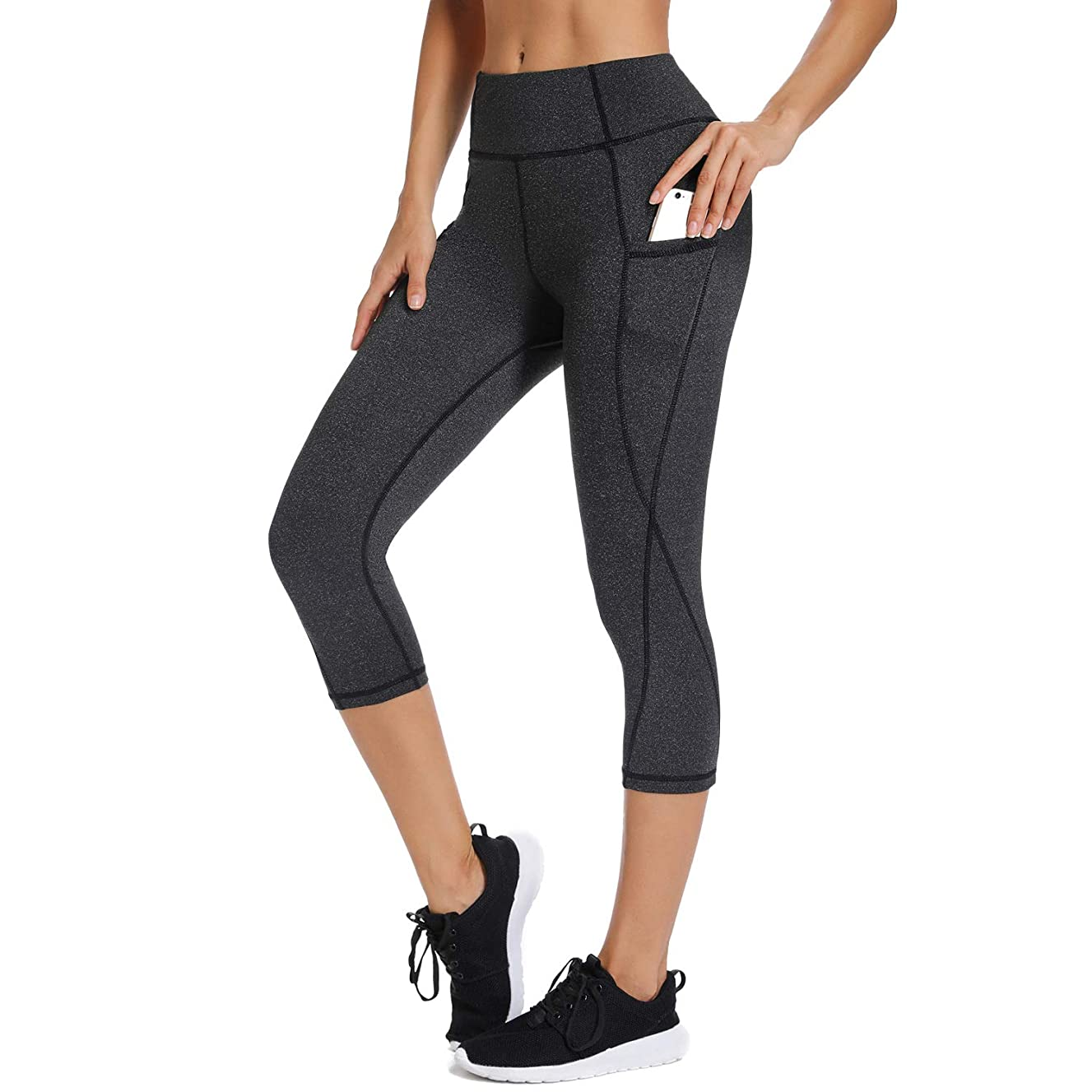 FITTOO Womens High Waisted Athletic Capri Leggings Side Pockets Yoga Pants Tummy Control