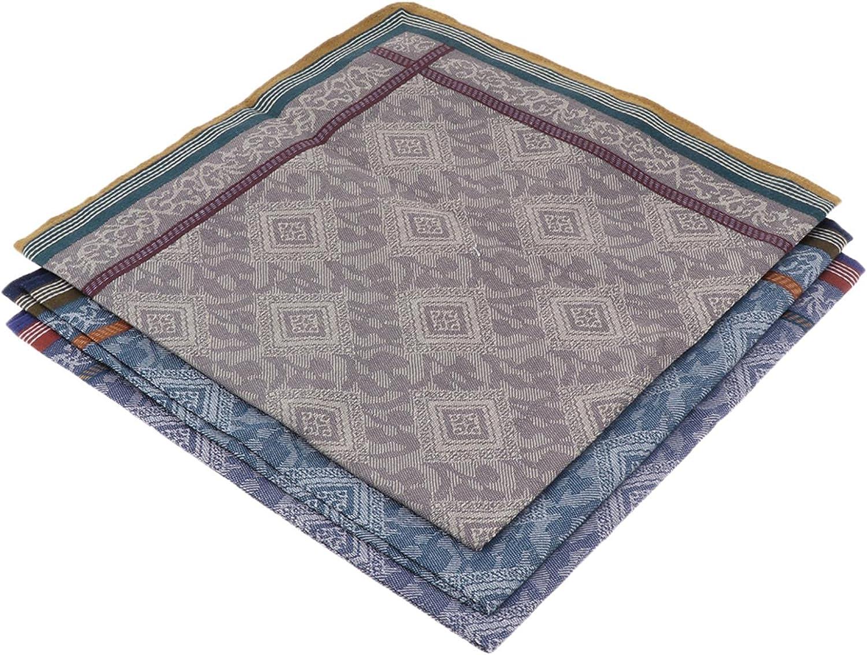 3Pcs Classic Mens Plaid Handkerchiefs Cotton Pocket Square Hanky
