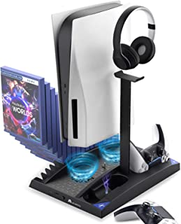 PS5 Vertical Stand Dual Charging Station - PlayStation 5 Disc & Digital Edition Cooling Fan System 17 Game Slots PS5 Acces...