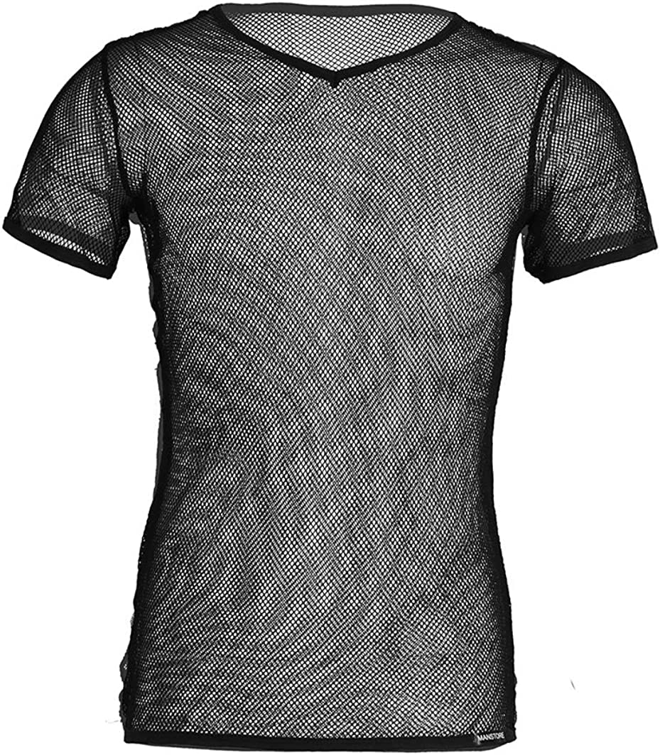 inlzdz Men's See Through Mesh Muscle Nippon regular agency Tops Tank Columbus Mall Gy Stretch Blouse