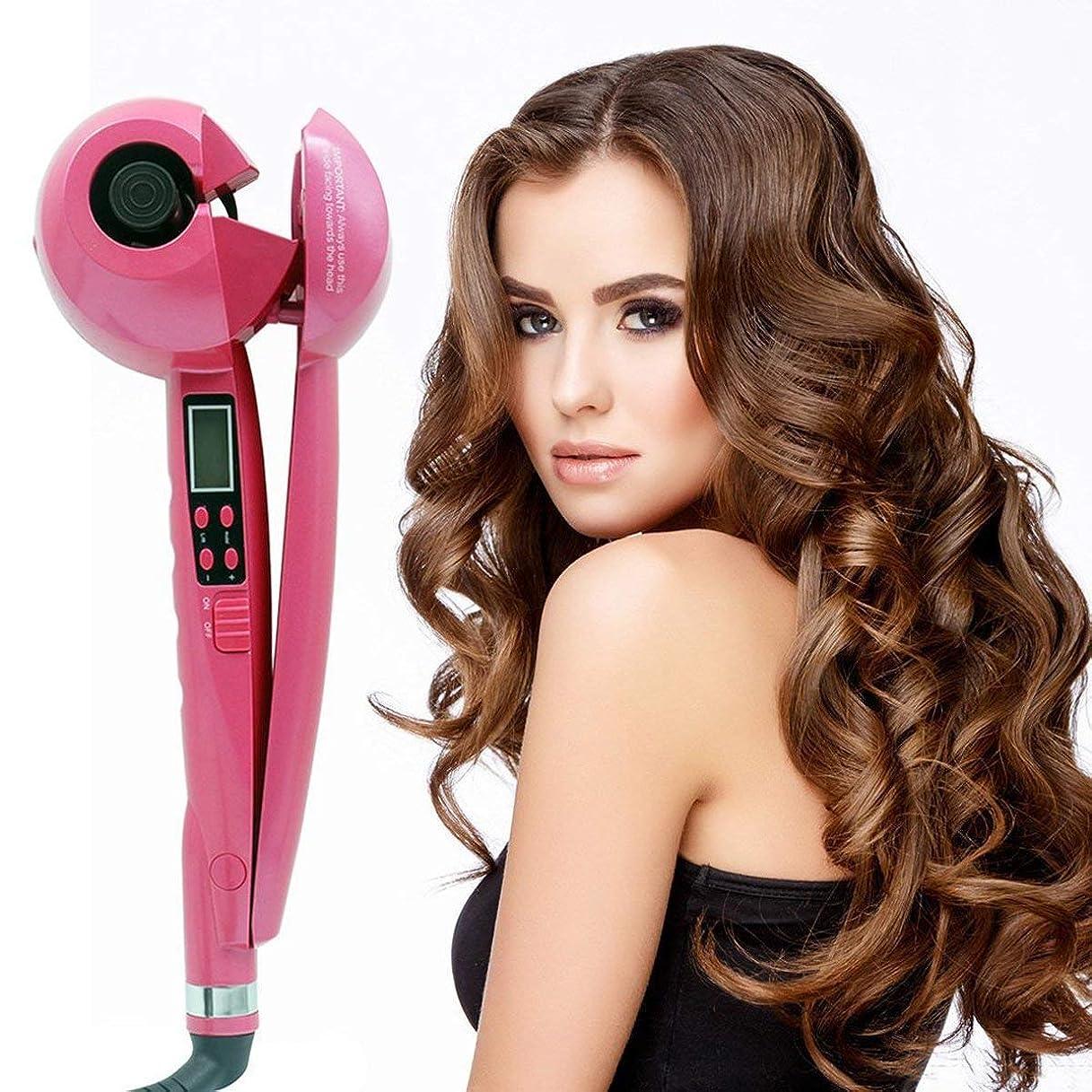 発症添加剤マントルマジックヘアカーラーカーリングワンドすべてのヘアタイプの時間/温度/カーリング方向の設定でセラミック自動カーリングアイアンマシン,Pink
