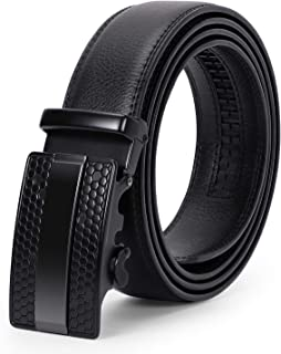 """Men's Leather Ratchet Belt Comfort Dress Belt for Men with Automatic Buckle in Gift Box, Black, Suit for Pants Size 45""""-52"""""""