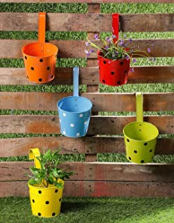 Trendy home Home Black Dotted Metal Mug Flower/Plants Pot for Hanging in Balcony/Railing | Garden & Home Decor (Pack of 5)...
