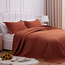 SunStyle Home Quilt Set King Size,Rust Brown Chain Pattern Bedspread-106 x96, Soft Lightweight Microfiber Coverlet, Luxuri...