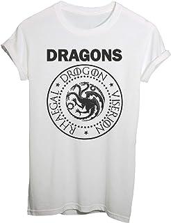 9d030c26f T-Shirt Game of Thrones, Stemma Ramones con Nomi dei Draghi, Viserion,