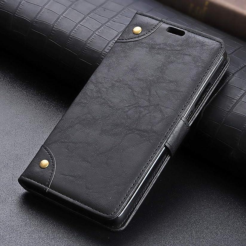 一般的に言えば三角形精査KMLP Nokia 7 Plus 用銅バックルレトロクレイジーホースのテクスチャ、ホルダー&カードスロット&財布の水平フリップレザーケース KMLPカバー (Color : Black)