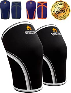 Spartan Strength Knee Sleeves (Pair) Support & Compression for Weightlifting, Powerlifting & Squats, Heavy Duty 7mm Neoprene