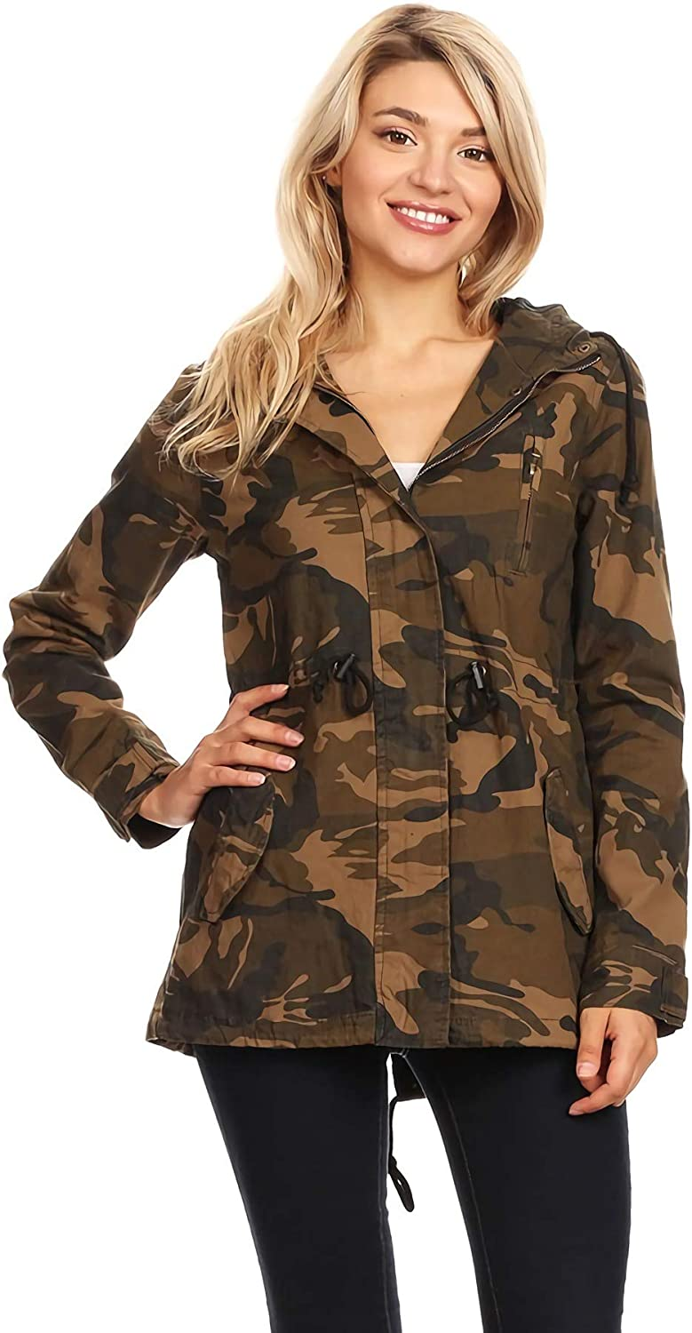 Ambiance Apparel Women's Camo Army Print Hooded Military Jacket