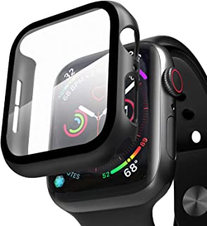 Compatible with Apple Watch Case with Screen Protector, Full Protective Cover Case Hard PC Bumper + 9H Bulletproof Glass S...