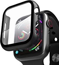 Compatible with Apple Watch Case with Screen Protector, Full Protective Cover Case Hard PC Bumper + 9H Bulletproof Glass Screen Protector for Apple iWatch