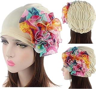 e109f2e49a5868 QingFan Multicolor Flower Pre Tied Bandana Head Scarf Hat Turban Headwear  Women Stretch Cancer