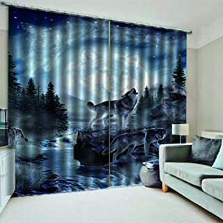 KRWHTS Curtains Grommet Darkening Blackout Room Moon Wolf Curtain for Kitchen Dining Living Room Bedroom Window Drapes 2 Panel Set