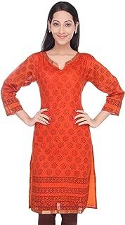 Women's Handloom Maheshwari Cotton-Silk Hand Block Printed Orange Kurti