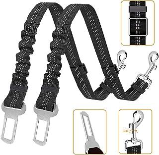 Kelivi Perro Cinturón de Seguridad, 2 Unidades Cinturones de Seguridad Ajustables para Perro, Elástico para Mascotas Corre...
