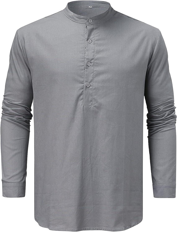 FUNEY Mens Hipster Slim Fit Long Sleeve Button Down Dress Shirts Tops Casual Round Neck Autumn Plain Cotton Shirt Blouse
