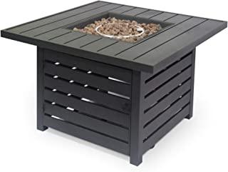 Great Deal Furniture Moira Square Iron Fire Pit, Matte Black