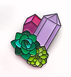 Crystal Geodes and Succulents Enamel Pin