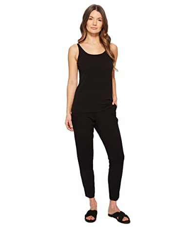 Eileen Fisher Scoop Neck Long Cami (Black Stretch Silk Jersey) Women