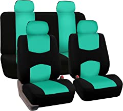 FH Group Mint FB050MINT114 Flat Cloth Fulls Set Seat Covers (w. 4 Detachable Headrests and Solid Bench)