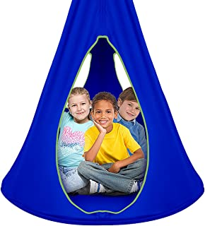 Sorbus Kids Nest Swing Chair Nook – Hanging Seat Hammock for Indoor Outdoor Use – Great for Children, All Accessories Included (40 Inch, Nest Blue)
